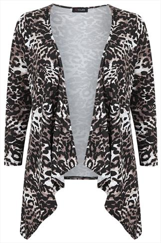 Animal Print Waterfall Edge To Edge Cardigan