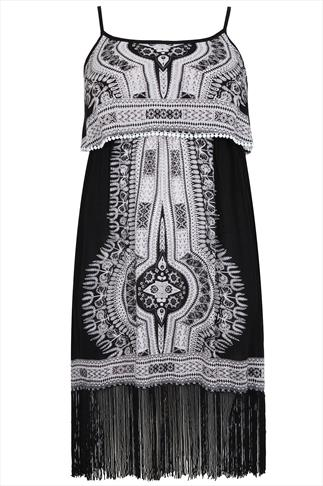 Black & White Mixed Placement Print Dress With Fringed Hem
