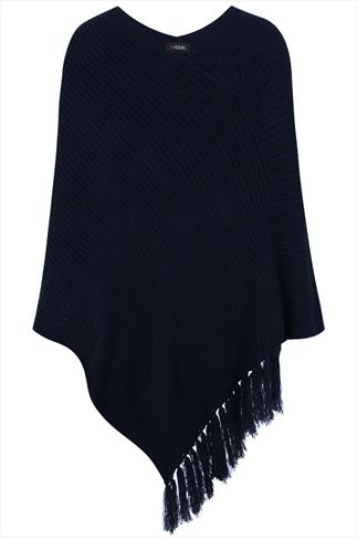 Navy Chunky Knit Poncho With Tassels