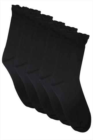 Socks 5 PACK Black Socks In Extra Wide Fit 055808