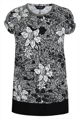 Black & White Floral Print Longline Top With Beaded Neckline