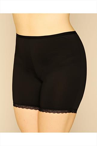 Black Thigh Smoother Brief With Lace Detail Hem 014208