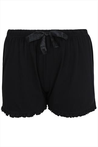 Black Cotton Jersey Pyjama Shorts With Frill Edge