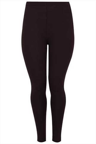 Dark Brown Viscose Elastane Full Length Leggings