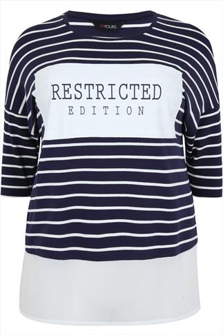 Navy Striped Slogan Top With Sheer White Panel