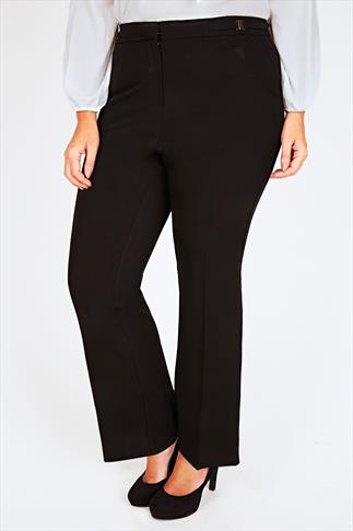 Black Boot Cut Trouser With Gold Trim