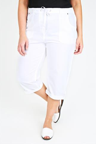 White Cool Cotton Roll-Up Crop Trousers With Stud Detail