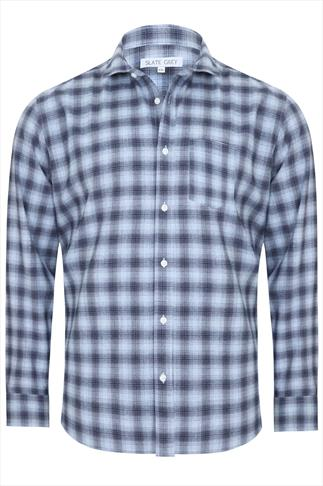 Slate Grey Blue & Navy Checked Long Sleeve Shirt