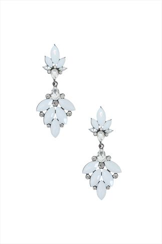 White & Silver Crystal Drop Earring