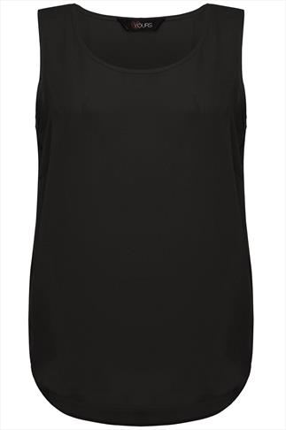 Black Sleeveless Top With Curved Dipped Hem