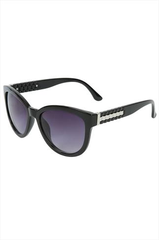 Black Cat Eye Sunglasses With Silver Armed Detail