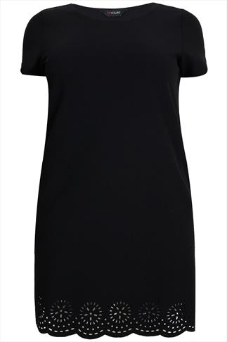 Black Shift Dress With Cut Out Floral Scalloped Hem