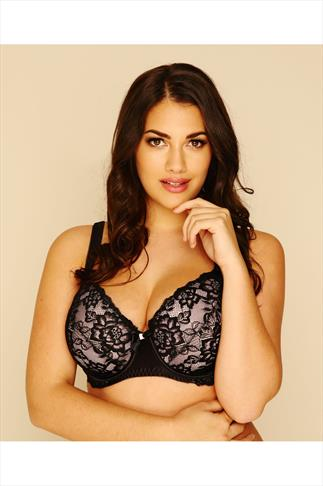 Black & Nude Pink Rose Lace Moulded Underwired Bra