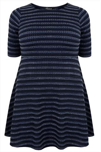 Blue Mix Twisted Yarn Striped Skater Dress With Short Sleeves