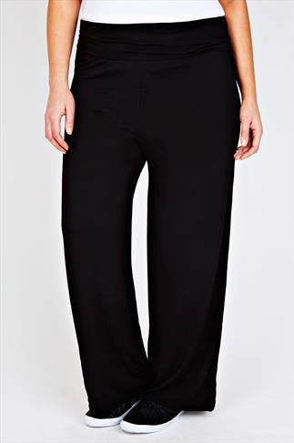 Black Turn Down Waist Wide Leg Jersey Trousers