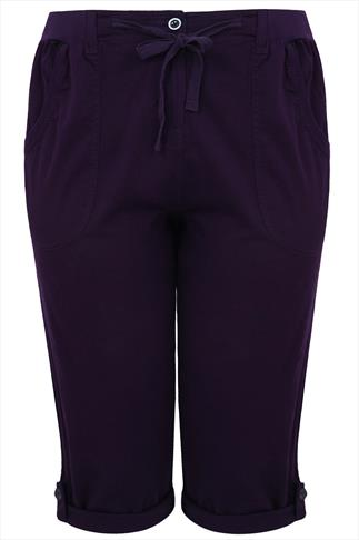 Purple Cotton Twill Crop Roll Up Trousers