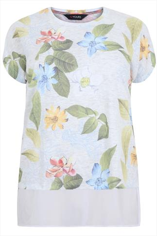 White Marl & Floral Print Chiffon Hem Layer Top