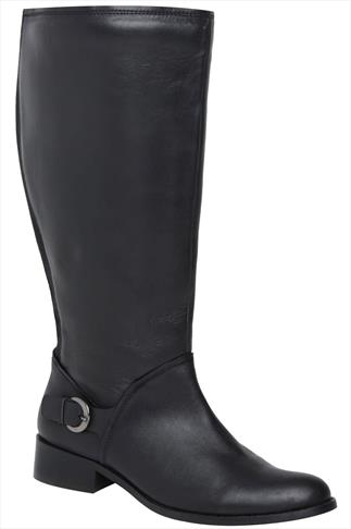 Black Knee High Leather Riding Boots With Buckle Trim & XL Calf Fitting