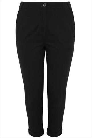 Black Chino Trousers With Turn Back Cuffs