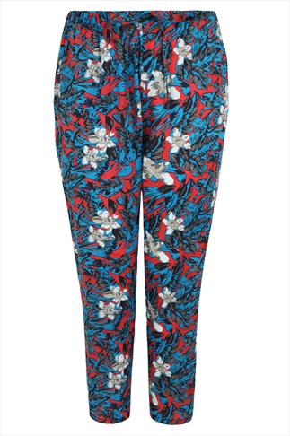 Blue & Red Tropical Print Harem Trouser
