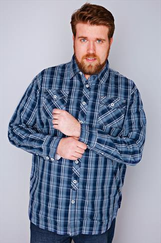D555 Blue & Navy Checked Fully Lined Shirt