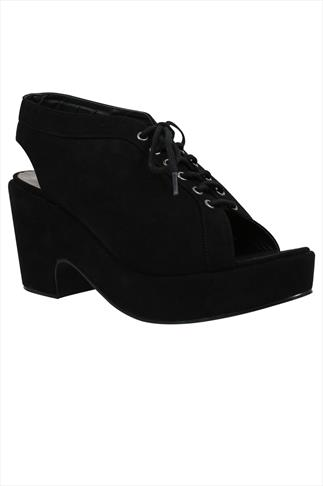 Black Microfibre Lace Up Open Toe Platform Shoe In EEE Fit
