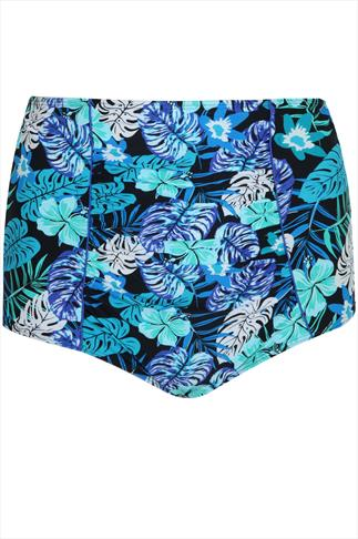 Blue Multi Tropical Hawaiian Print High Waisted Bikini Bottoms