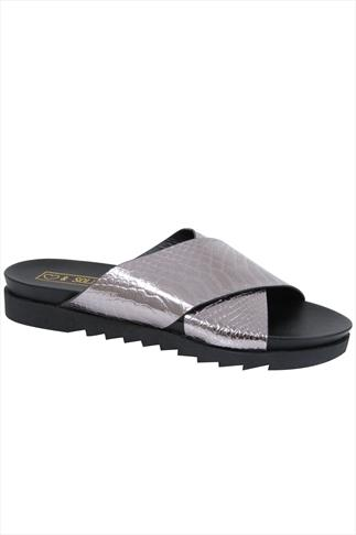 Metalic Snake Print Cross Over Strap Sliders In E Fit 057223