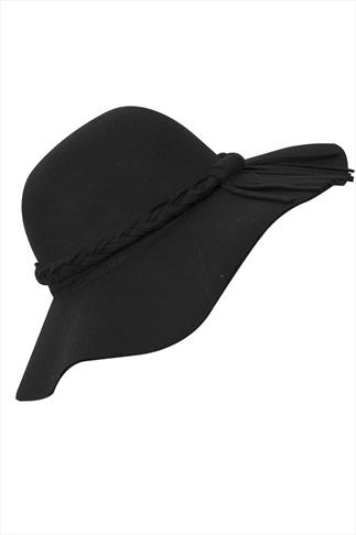 Black Felt Plait Floppy Hat