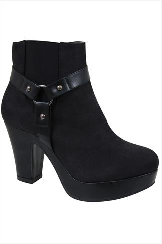 Black Microfibre Platform Heeled Ankle Boot In EEE Fit