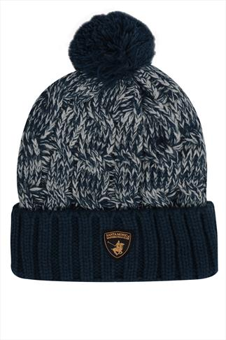 SANTA MONICA Navy Knitted Bobble Hat