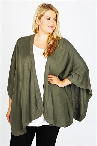 Khaki Knitted Wrap With Curved Hem