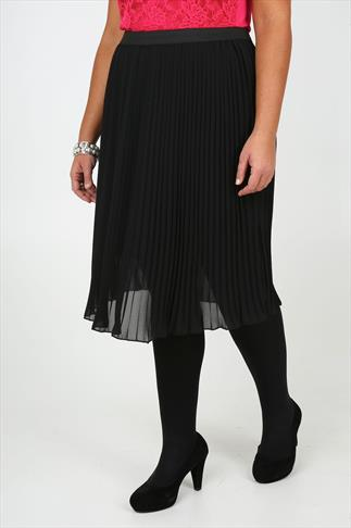 Black Chiffon Pleated Midi Skirt With Elasticated Waist