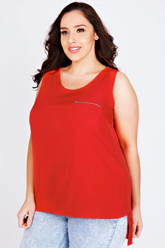 Red Sleeveless Dipped Hem Top With Zip Pocket Detail