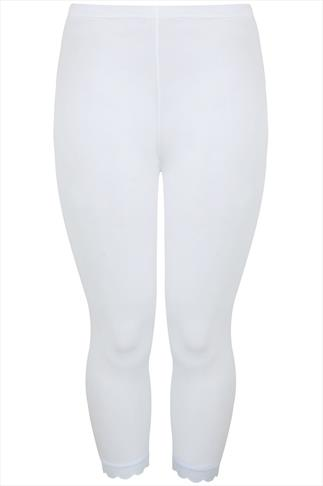 White Cotton Elastane Crop Legging With Lace Detail