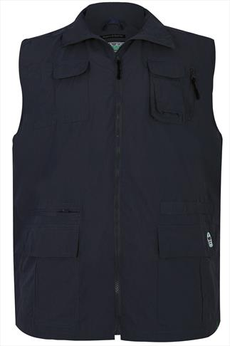 D555 Navy Multi Pocket Sleeveless Jacket