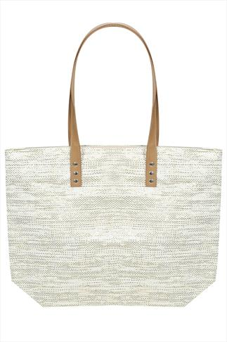 Natural Paper Straw With Metallic Thread Beach Bag