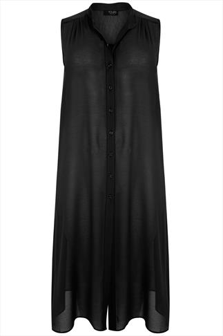 Black Maxi Length Button Down Sleeveless Shirt