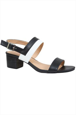 Black & White Two Part Sandal With Block Heel In EEE Fit