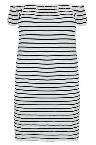 Black & White Striped Off The Shoulder Jersey Swing Dress