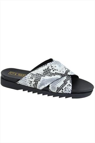 Grey & Black Snake Print Cross Over Strap Sliders In E Fit 057222