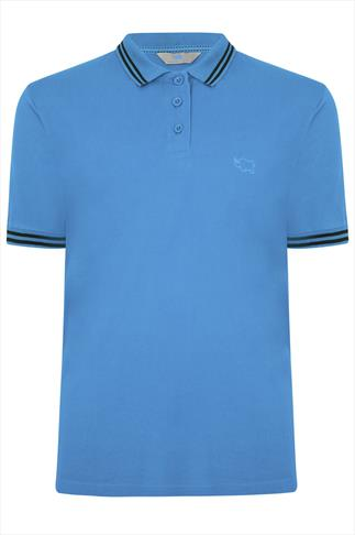 BadRhino Light Blue Polo Shirt With Navy Stripe Detail - TALL