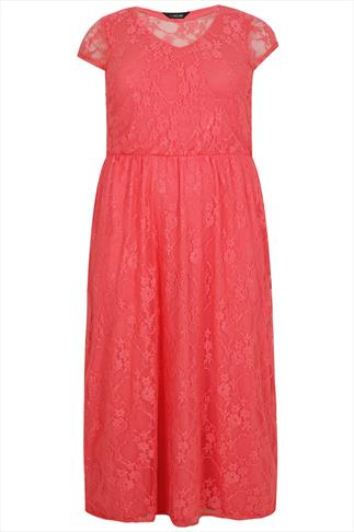 Coral Pink Maxi Dress With Lace Overlay