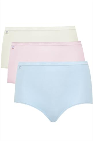 SLOGGI 3 PACK Pastel Blue, Pink And Nude Basic Maxi Briefs