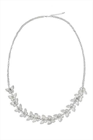Jewellery Silver Butterfly Long Necklace 100303