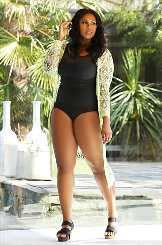 TUMMY CONTROL Black Mesh Panel Swimsuit