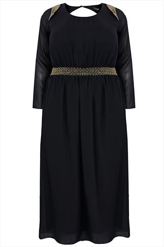 Black Chiffon Maxi Dress With Embellished Shoulders & Waistband