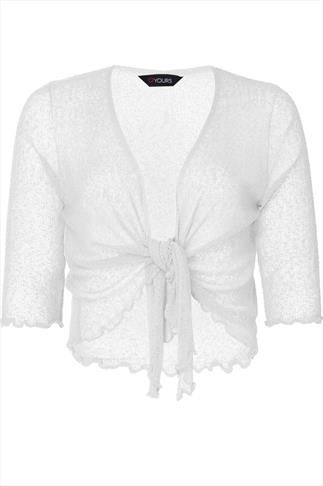 White Slub Knit Shrug With Tie