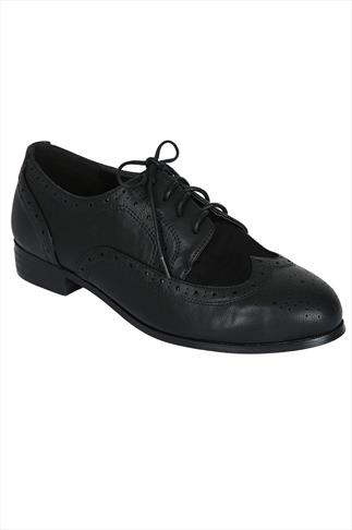 Black Lace Up Brogue Shoes In EEE Fit