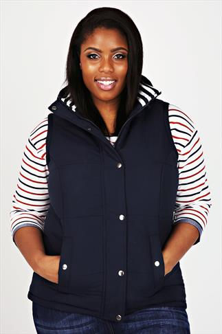 Navy Quilted Gilet With Striped Lining With Hood